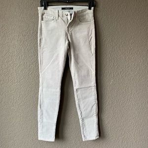 J Brand light gray corduroy feel skinny meg jeans